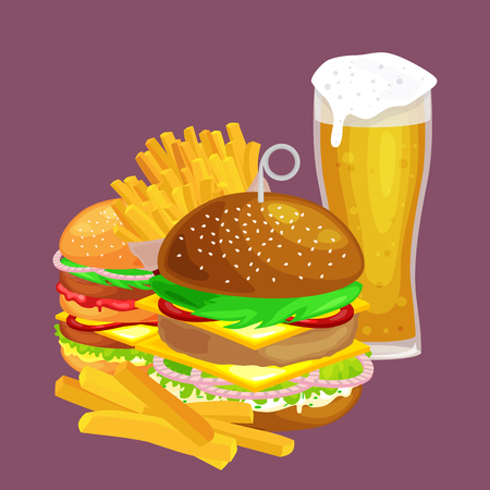 vecor: American hamburger fast food meal French fries with cold bear brown ice drink vecor illustration background