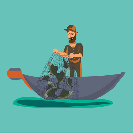 Cartoon fisherman standing in hat and pulls net on boat out of water, happy fishman holds fish illustration isolated icon.
