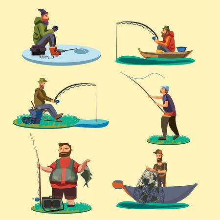 Set of fisherman catches fish sitting on boat and off shore,fisher threw fishing rod into water, happy fishman holds catch and spin, man pulls net out of the water on ice icon vector illustration Illustration
