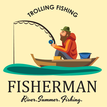 trolling: Flat fisherman hat sits on boat with trolling fishing rod in hand and catches bucket.