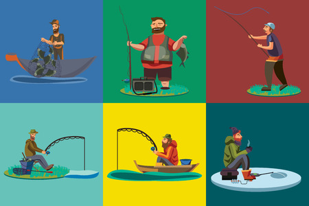 Cartoon fisherman standing in hat and pulls net on boat out of sea, happy fishman holds fish catch and spin vecor illustration fisher threw fishing rod into water concept, man active hobby character