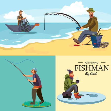 Flat fisherman hat sits on shore with fishing rod in hand and catches bucket and net. Illustration
