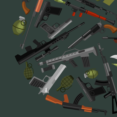 colt: military gun set, automatic and hand weapon in magazine barrel with bullets for protection shoting or war collection, handgun for hunting equipment, ammunition background vector illustration