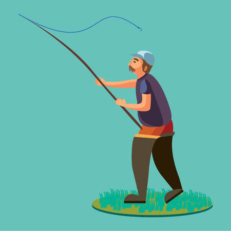 hand line fishing: Fisherman in rubber boots throws a fishing rod with a line and crocheted into the water for fly-fishing, character man catches fish standing off shore with spin vacation concept vector illustration