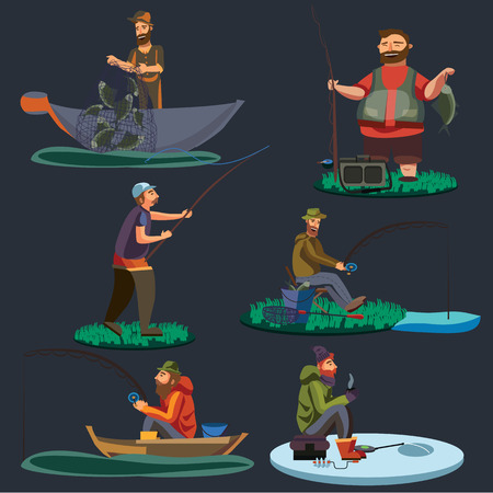 threw: Fisherman catches fish sitting on boat and off shore,fisher threw fishing rod into water, happy fishman holds catch and spin, man pulls net out of the water, fishing on ice icon vector illustration