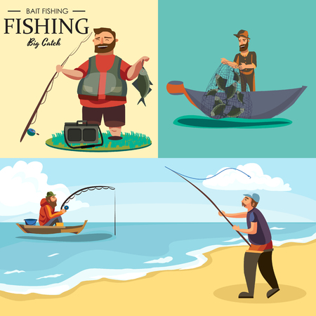 Fisherman in rubber boots throws a fishing rod with a line and crocheted into the water for fly-fishing, character man catches fish standing off shore with spin vacation concept vector illustration