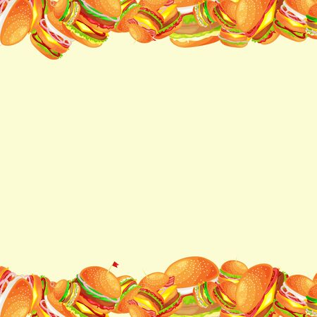Frame from tasty burger grilled beef and fresh vegetables dressed with sauce bun for snack, american hamburger fast food meal menu barbecue meat bread tomato cheese vecor illustration background