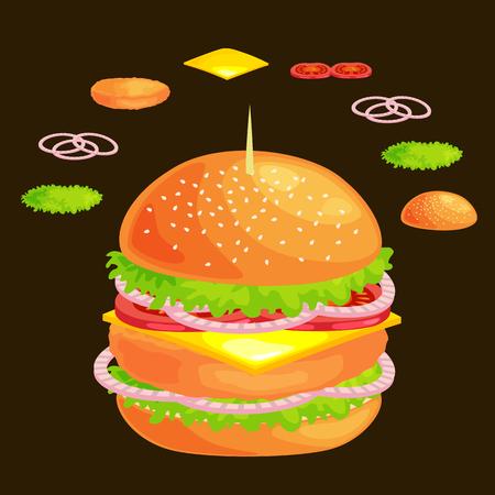 vecor: Set of burger grilled beef vegetables dressed with sauce bun snack, hamburger fast food meal menu barbecue meat with detailed individual flying slices menu ingredients vecor illustration background Illustration