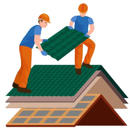 Dak constructie werknemer reparatie huis, bouw structuur vaststelling dak tegel huis met arbeidsmiddelen, roofer mannen met werkgereedschap in handen buitenshuis renovatie residentiële vector illustratie