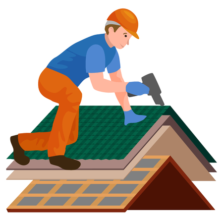roof shingles: Roof construction worker repair home