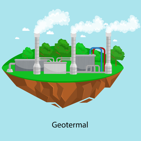 alternative energy power industry, geotermal power station factory electricity on a green grass ecology concept, technology of renewable station vector illustratin