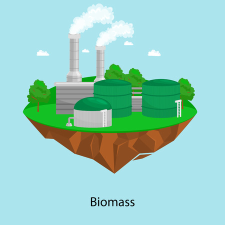 Alternative energy power industry, biomass power station factory electricity on a green grass ecology concept, technology of renewable bio plant recycle station vector illustratin Illustration