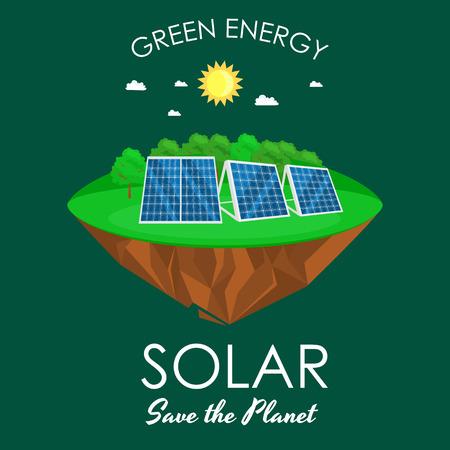 Alternative energy power, solar electricity panel field on a green grass ecology concept, technology of renewable sun station vector illustratin