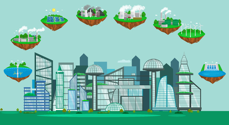 Concept of alternative energy green power, environment save, renewable turbine energy, wind and solar ecology electricity, ecological industry vector illustration  イラスト・ベクター素材