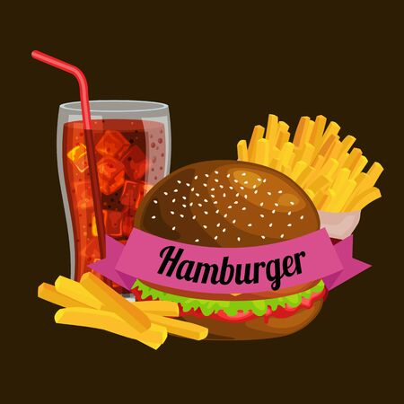 vecor: Set of tasty burgers grilled beef and fresh vegetables dressed with sauce bun for snack, american hamburger.French fries with cold soda brown ice drink vecor illustration background Illustration