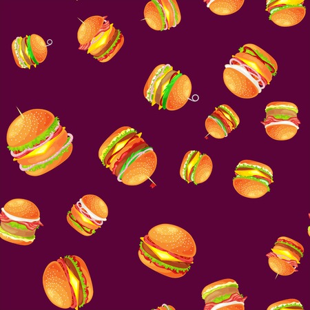 Seamless pattern tasty burger grilled beef and fresh vegetables dressed with sauce bun for snack, american hamburger food meal menu barbecue meat vecor illustration background