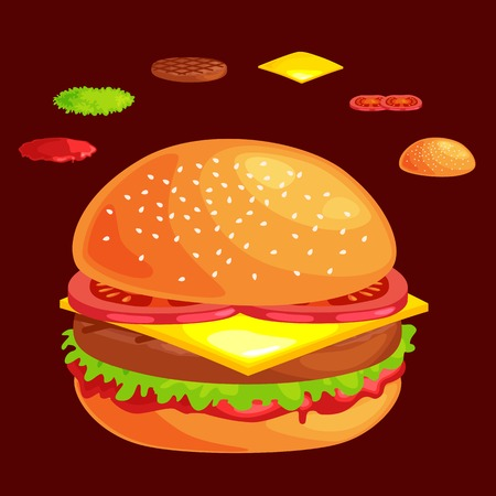 vecor: Set of burger grilled beef vegetables dressed with sauce bun snack, hamburger,l menu barbecue meat with detailed individual flying slices menu ingredients vecor illustration background