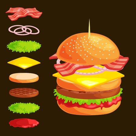 vecor: Set of burger grilled beef vegetables dressed with sauce bun snack, hamburger,meal menu barbecue meat with detailed individual flying slices menu ingredients vecor illustration background