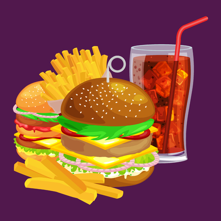 vecor: Set of tasty burgers grilled beef and fresh vegetables dressed with sauce bun for snack, american hamburger, French fries with cold soda brown ice drink vecor illustration background