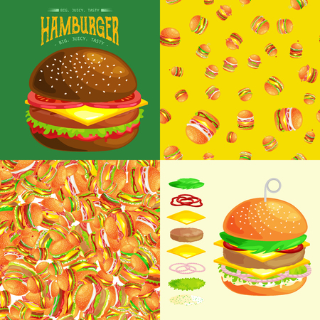 vecor: Set of burger grilled beef vegetables dressed with sauce bun snack, hamburger menu barbecue meat with detailed individual flying slices menu ingredients vecor illustration background