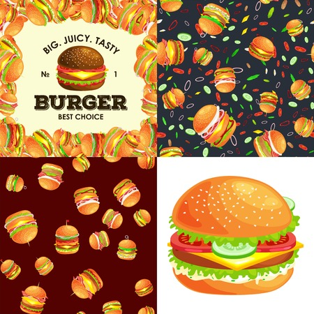 vecor: Set of burger grilled beef and fresh vegetables dressed with sauce bun snack, american hamburger fastfood barbecue meat meal Hamburger with detailed flying slices menu ingredients vecor illustration