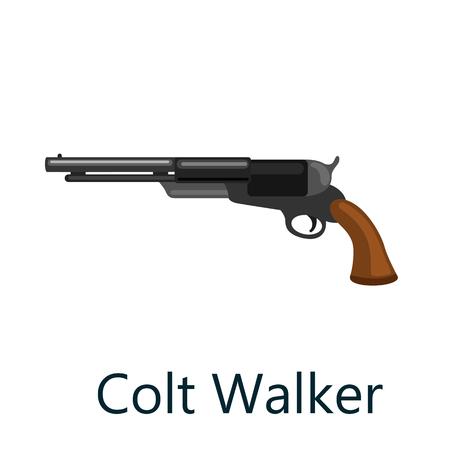Colt King Cobra is a medium frame double-action revolver featuring a six round cylinder gun, pistol vector illustration, weapon handgun isolated, metallic revolver on white background.
