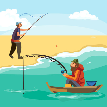 trolling: Flat fisherman hat sits on boat with trolling fishing rod in hand and catches bucket, Fishman crocheted spin into the sea waiting big fish funny vector illustration, Man active banner concept