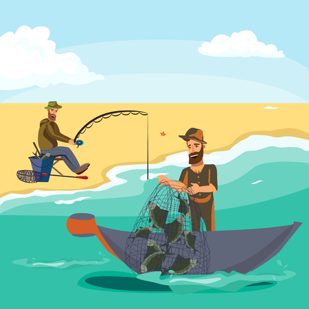 Cartoon fisherman standing in hat and pulls net on boat out of sea, happy fishman holds fish catch and spin vecor illustration fisher threw fishing rod into water concept, man active hobby character.