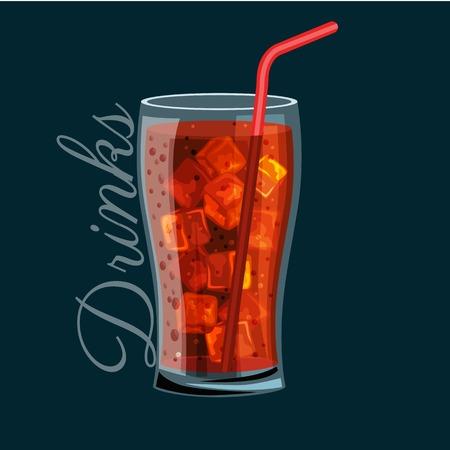 유리에 갈색 탄산 청량 음료, 알코올을 포함하지 않습니다. 얼음과 유리 그릇에 빨 대 콜드 패스트 푸드의 개념에 대 한 벡터 일러스트 레이 션