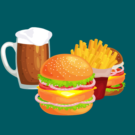 vecor: Set of tasty burgers grilled beef and fresh vegetables dressed with sauce bun for snack, american hamburger fast food meal French fries with cold bear brown ice drink vecor illustration background Illustration