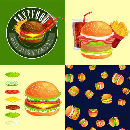 cookout: Set of burger grilled beef vegetables dressed with sauce bun snack, hamburger fast food meal menu barbecue meat with detailed individual flying slices menu ingredients vecor illustration background Illustration