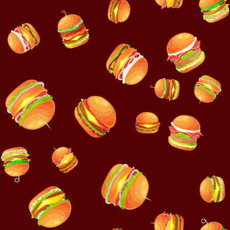 vecor: Seamless pattern tasty burger grilled beef and fresh vegetables dressed with sauce bun for snack, american hamburger fast food meal menu barbecue meat vecor illustration background