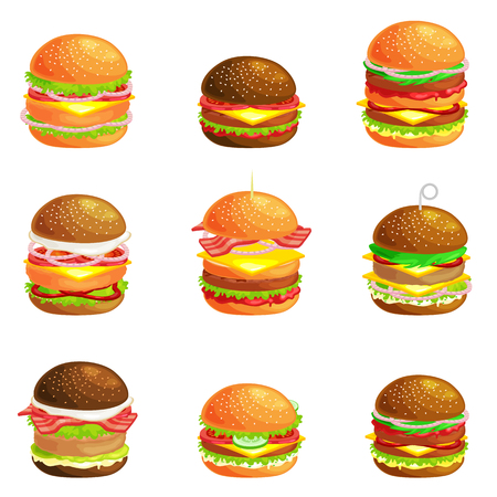cookout: Set of tasty burger grilled beef and fresh vegetables dressed with sauce in bun for snack or lunch, hamburger is classical american fast food meal usual menu could be barbecue meat bread tomato cheese