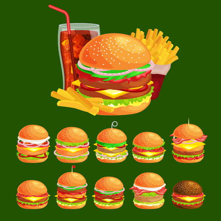 vecor: Set of tasty burgers grilled beef and fresh vegetables dressed with sauce bun for snack, american hamburger fast food meal French fries with cold brown ice soda drink vecor illustration background Illustration