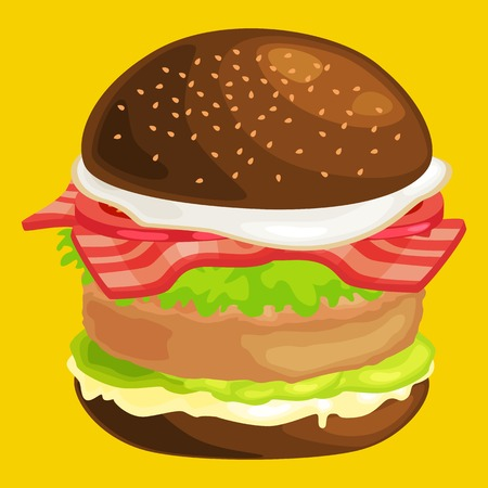 tasty burger grilled beef and fresh vegetables dressed with sauce in bun for snack or lunch, hamburger is classical american fast food meal usual menu could be barbecue meat bread tomato cheese