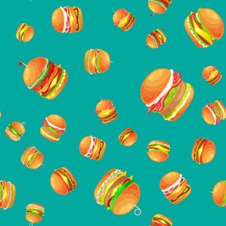 cookout: Seamless pattern tasty burger grilled beef and fresh vegetables dressed with sauce bun for snack, american hamburger fast food meal menu barbecue meat vecor illustration background