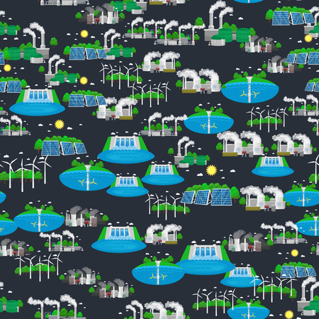 recursos naturales: seamless pattern alternative energy green power, environment save, renewable turbine energy, wind and solar ecology electricity, ecological industry vector illustration