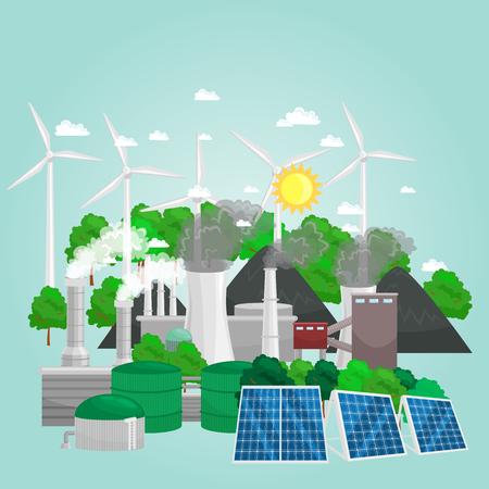 concepto de energía alternativa, energía ecológica, ahorro medioambiental, energía de turbinas renovables y más. Ilustración de vector