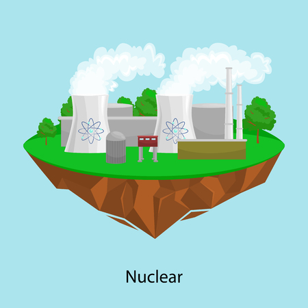 Nuclear power plant with yellow field and big blue clouds Illustration