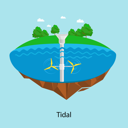 Tidal power plant and factory. Tidal turbines. Green energy industrial concept. Illustration in flat style. Tidal power station background. Renewable energy sources.