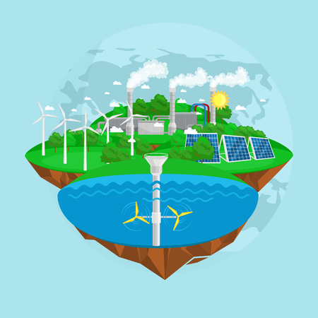 renewable ecology energy icons, green city power alternative resources concept, environment save new technology, solar and wind electricity vector illustration. Stockfoto - 80500583