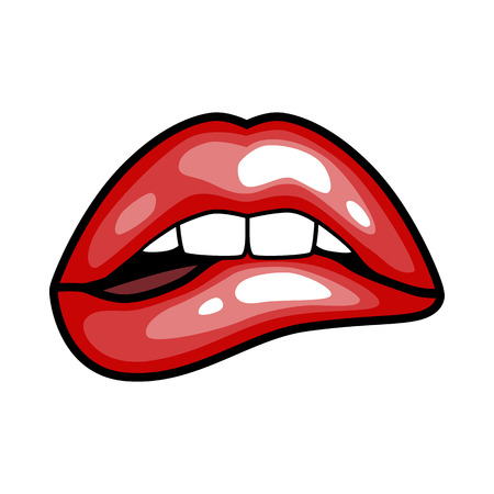 fashion girls lips with red lipstick in cartoon pop art style patch badges, cool retro collection sticker vector illustration Çizim