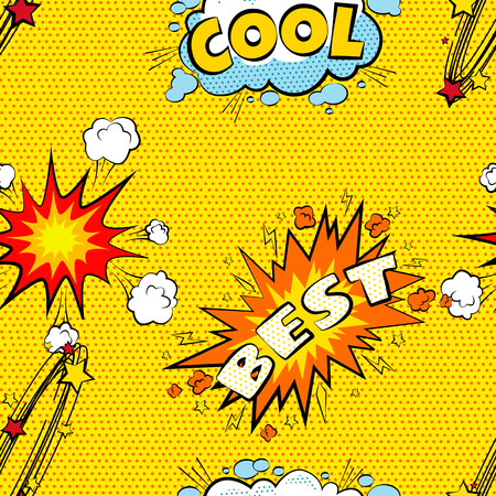 best book: Seamless pattern cartoon comic super speech bubble labels with text, sexy open red lips with teeth, retro cartoon vector pop art illustration, halftone dot vintage effect background