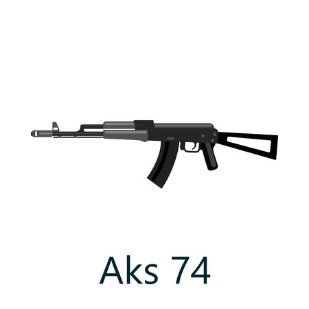 Assault automatic black rifle AK74, military gun on white background isolated vector illustration, weapon with bullets for protection shoting or war