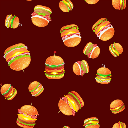 Seamless pattern tasty burger grilled beef and fresh vegetables dressed with sauce bun for snack, american hamburger fast food meal menu barbecue meat vecor illustration background