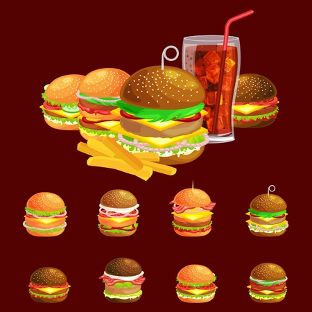 vecor: Set of tasty burgers grilled beef and fresh vegetables dressed with sauce bun for snack, american hamburger fast food meal French fries with cold soda brown ice drink vecor illustration background