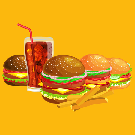 fried: Set of tasty burgers grilled beef and fresh vegetables dressed with sauce bun for snack, american hamburger fast food meal French fries with cold soda brown ice drink vecor illustration background