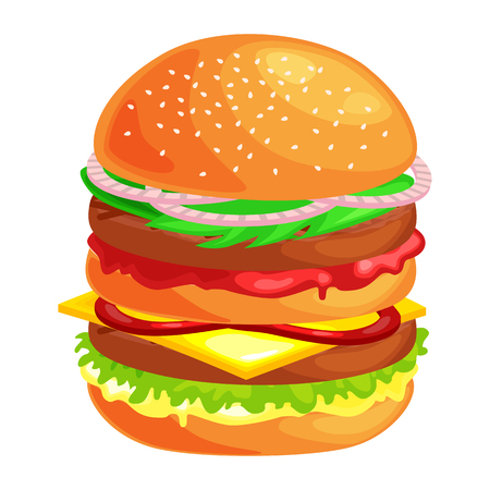 usual: tasty burger with grilled beef and fresh vegetables dressed with sauce in bun for snack or lunch, hamburger is classical american fast food meal usual in menu could be barbecue meat bread tomato and cheese