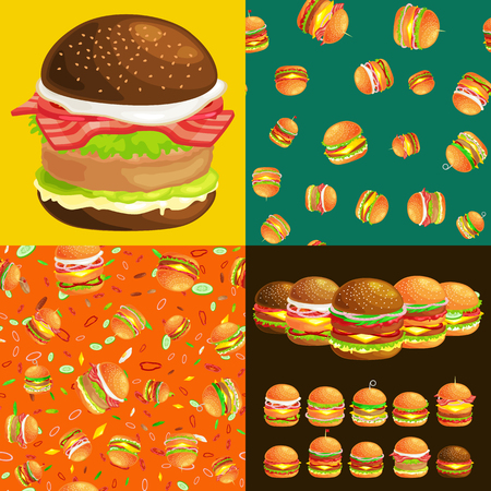 fried: Set of burger grilled beef and fresh vegetables dressed with sauce bun for snack, american hamburger fast food barbecue meat meal with bread tomato cheese, Hamburger vecor illustration background