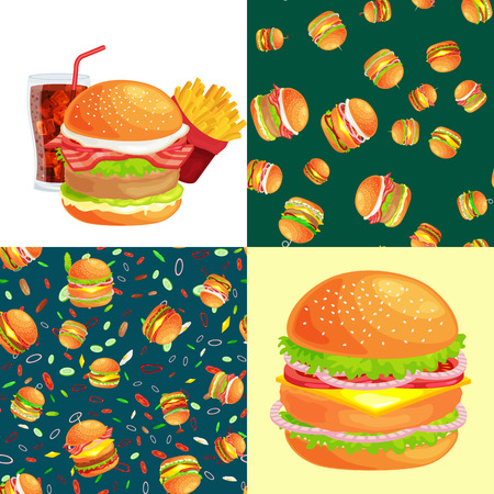 vecor: Set of burger grilled beef and fresh vegetables dressed with sauce bun for snack, american hamburger fast food barbecue meat meal with bread tomato cheese, Hamburger vecor illustration background